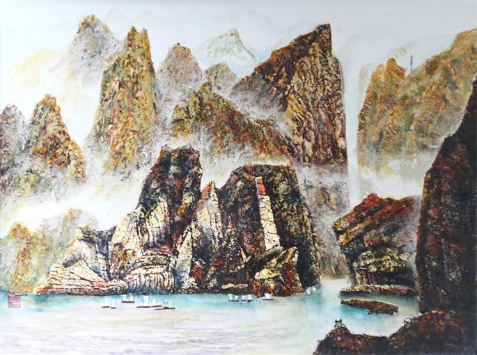 重庆蓝梦文化传播有限公司 > 漆画,三峡  三峡风光,研磨彩绘,程天德